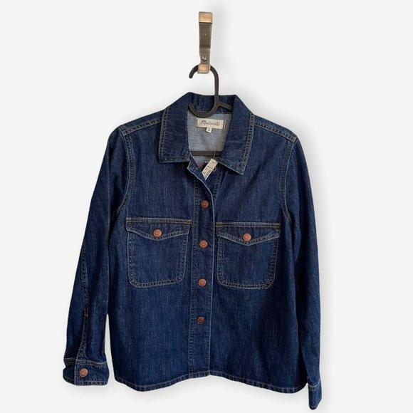 NWT Madewell Denim Shirt Jacket Dark Wash
